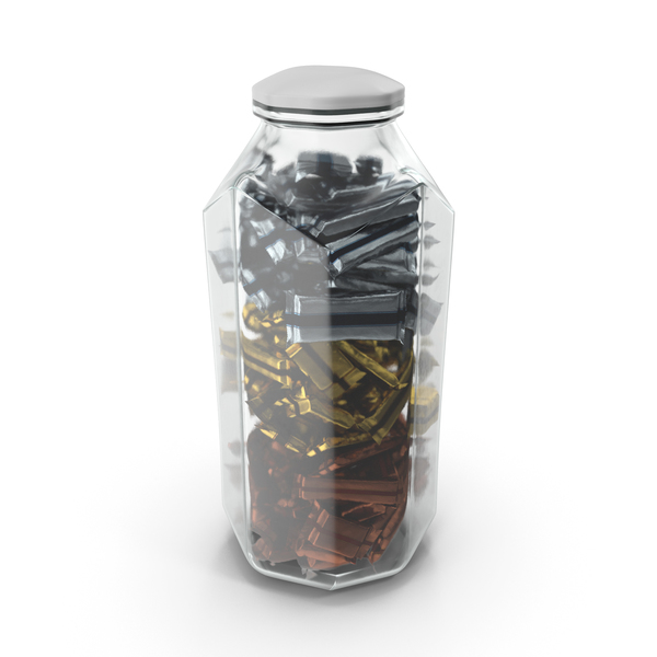 Octagon Jar with Wrapped Candy Bars PNG & PSD Images