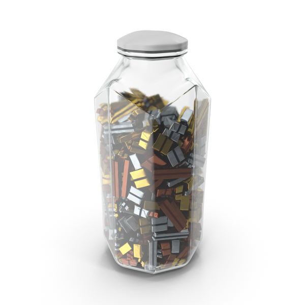 Octagon Jar with Wrapped Chocolate Candy PNG & PSD Images