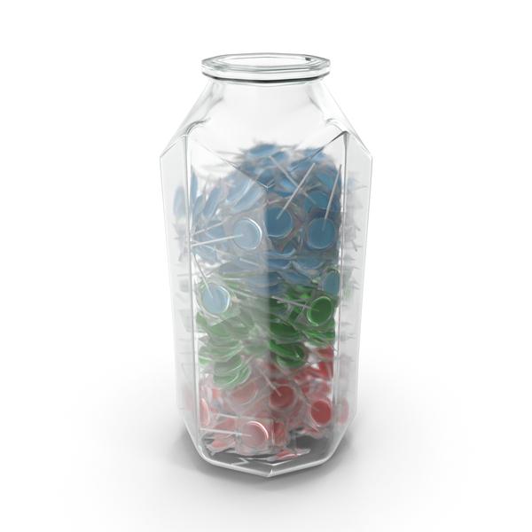 Lollipop: Octagon Jar With Wrapped Flat Lollipops PNG & PSD Images