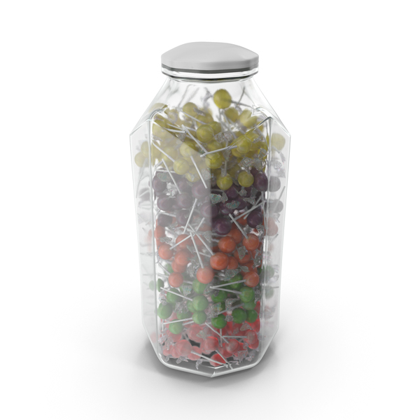 Octagon Jar With Wrapped Lollipops PNG & PSD Images