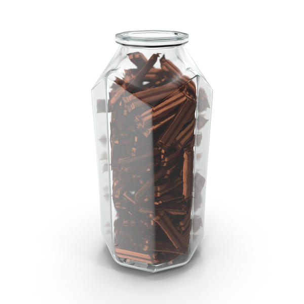 Octagon Jar with Wrapped Long Candy Bars PNG & PSD Images