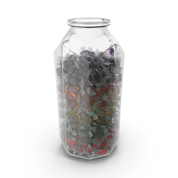 Hard: Octagon Jar with Wrapped Oval Candy PNG & PSD Images