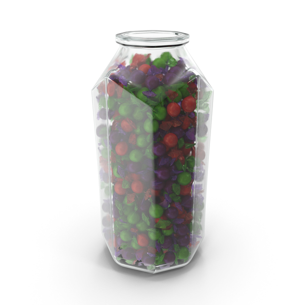 Octagon Jar with Wrapped Spherical Candy PNG & PSD Images