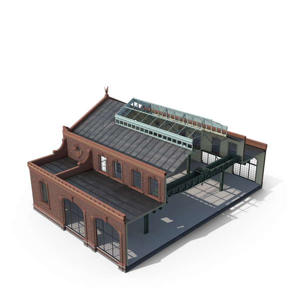Old Industrial Building Modular Interior and Exterior Cutout PNG & PSD Images