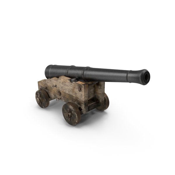 Old Ship Cannon with Wooden Carriage PNG & PSD Images
