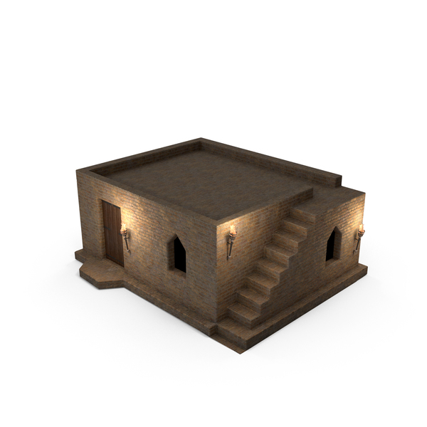 Old Stone House 1 Floor at Night PNG & PSD Images