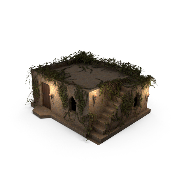 Old Stone House 1 Floor with Ivy Vines at Night PNG & PSD Images