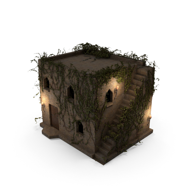 Old Stone House 2 Floors with Ivy Vines at Night PNG & PSD Images