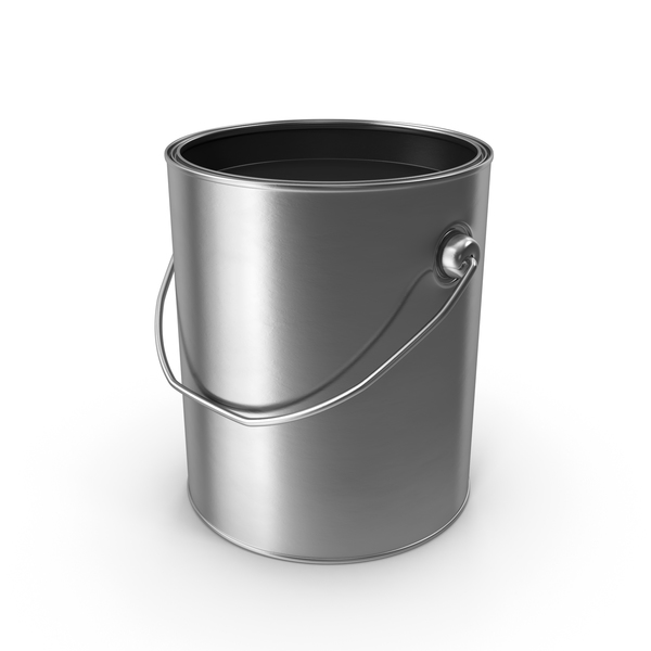 Open Metal Paint Can Black Object