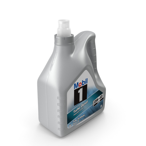 Mobile: Opened 4L Mobil Motor Oil Bottle PNG & PSD Images