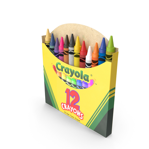 Opened Crayons Box 12 Count PNG & PSD Images