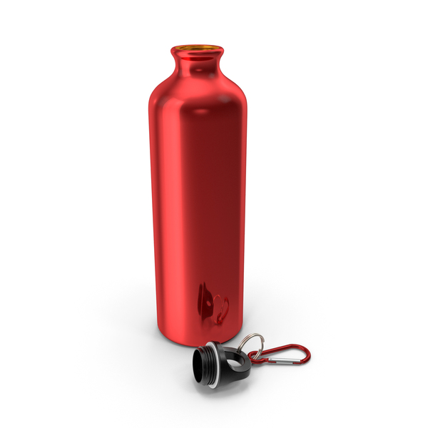 Opened Lightweight Red Aluminum Water Bottle PNG & PSD Images