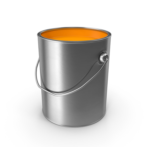 Orange Metal Paint Can Object