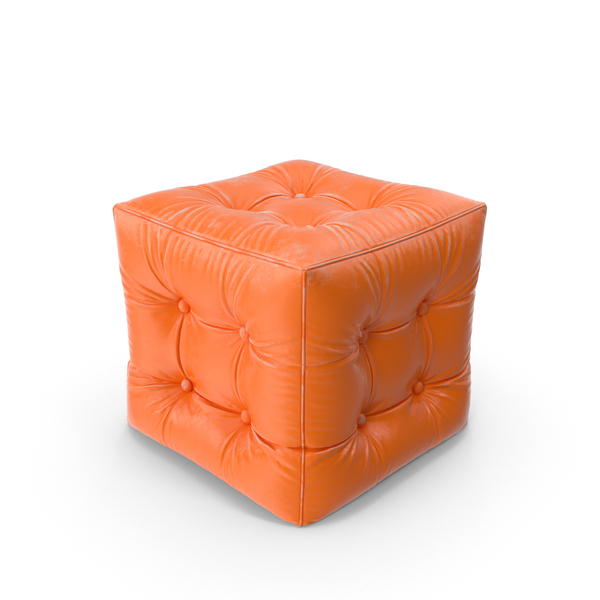 Ottoman: Orange Pouf Worn Leather PNG & PSD Images