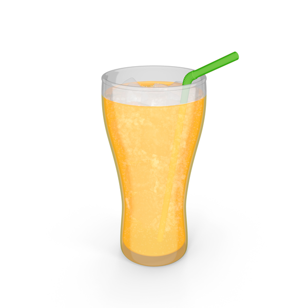 Orange Soda Cartoon with Bubbles PNG & PSD Images