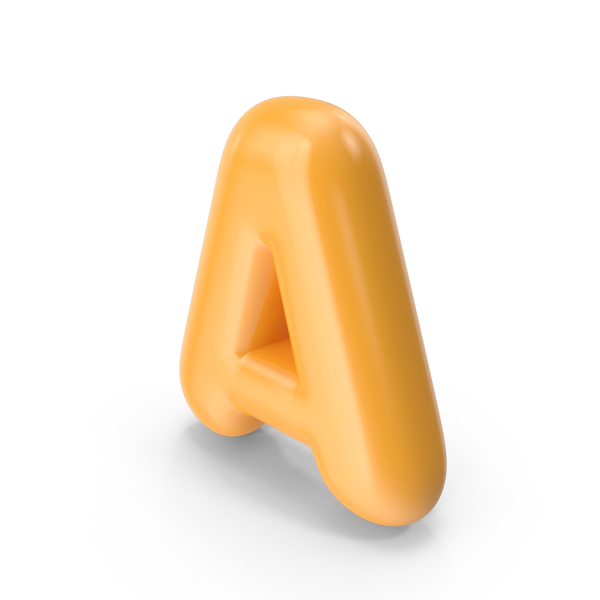 Language: Orange Toon Balloon Letter A PNG & PSD Images