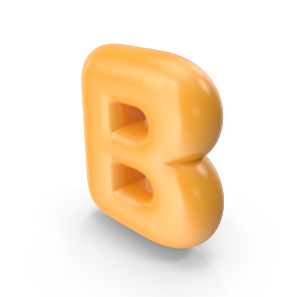 Language: Orange Toon Balloon Letter B PNG & PSD Images