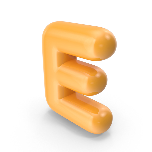 Language: Orange Toon Balloon Letter E PNG & PSD Images