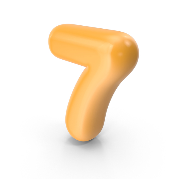 Orange Toon Balloon Number 7 PNG & PSD Images