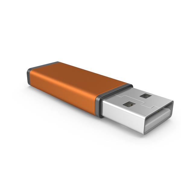 Orange USB Stick PNG & PSD Images