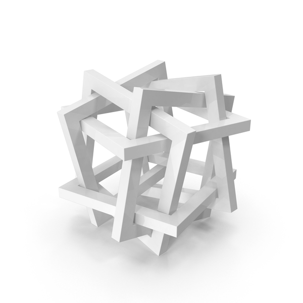 Geometric Shape: Orderly Tangle Of Six Interlinked Squares PNG & PSD Images
