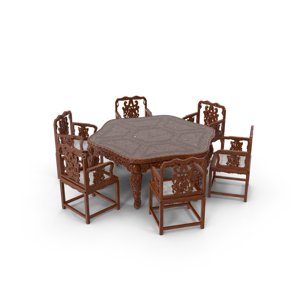 Room Set: Oriental Dining Table & Chairs PNG & PSD Images