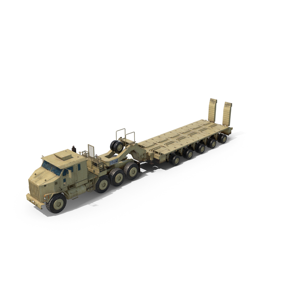 Oshkosh M1070 Truck With M1000 Semi-Trailer PNG & PSD Images