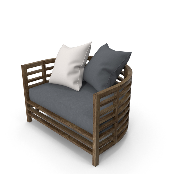 Arm Chair: Outdoor Armchair with Pillows PNG & PSD Images