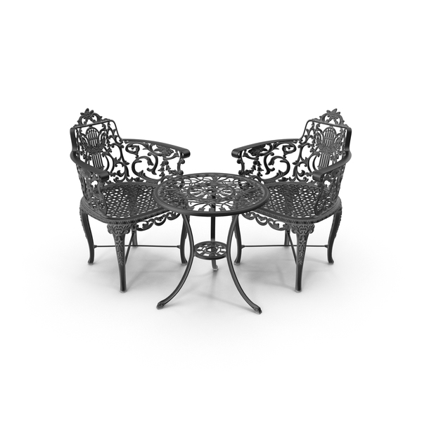Patio Furniture: Outdoor Iron Garden Table & Armchair Set PNG & PSD Images