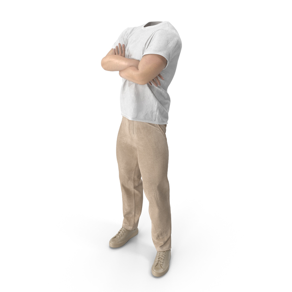 Man: Outfit  Beige Crossed Arms Pose PNG & PSD Images