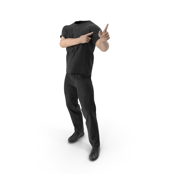 Man: Outfit Black Pointing Fingers Pose PNG & PSD Images