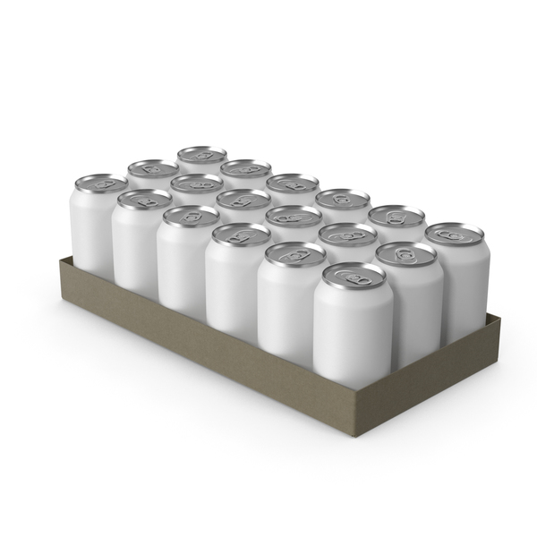 Pack with 24 White Soda Cans PNG & PSD Images