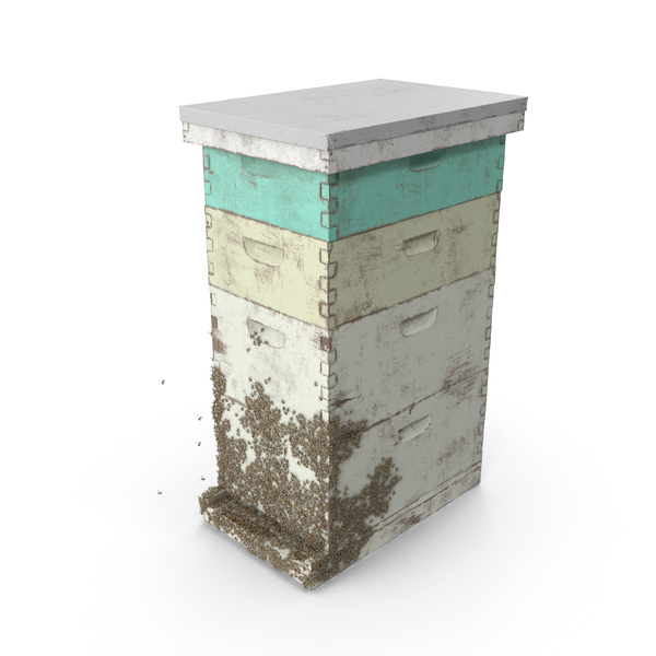 Painted Beehive Brood Box with Bees PNG & PSD Images
