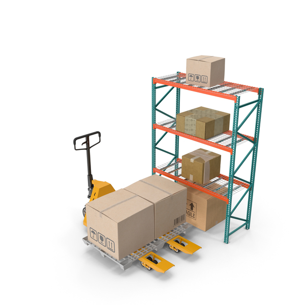 Pallet Jack and Rack with Cardboard Boxes PNG & PSD Images