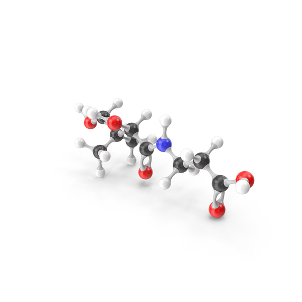 Pantothenic Acid (Vitamin B5) Molecular Model PNG & PSD Images