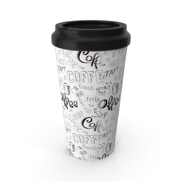 Paper Cup White Black Patterned PNG & PSD Images