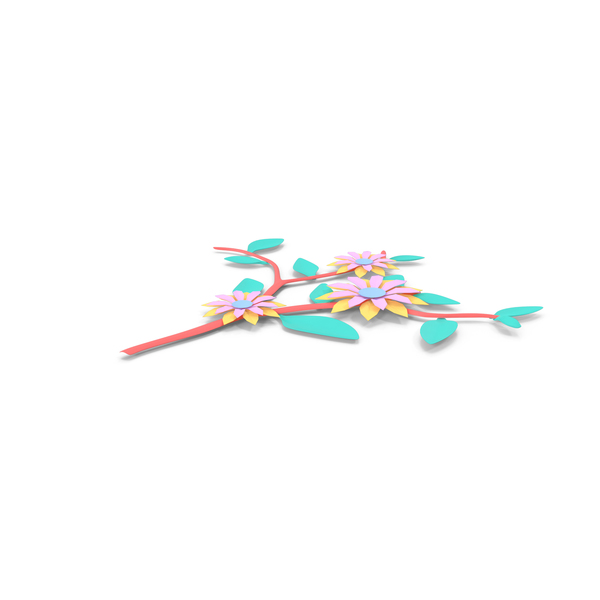 Origami: Paper Flower Branch PNG & PSD Images