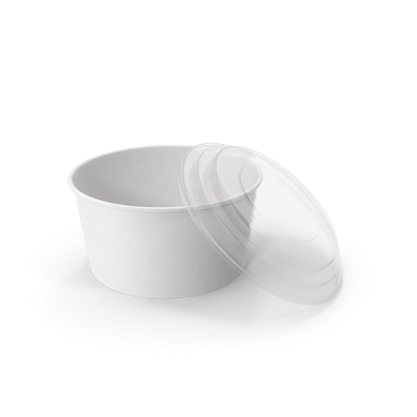 Paper Food Bowl with Clear Lid for Soup for Salad 32 oz 1000 ml Open PNG & PSD Images