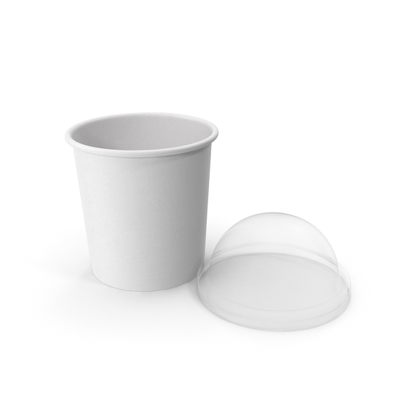 Takeaway Container: Paper Food Cup with Clear Lid for Dessert 12 Oz 300 ml Open 2 PNG & PSD Images