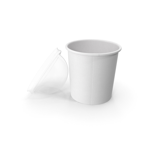 Takeaway Container: Paper Food Cup with Clear Lid for Dessert 12 Oz 300 ml Open PNG & PSD Images