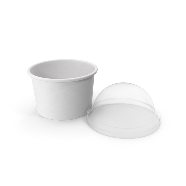 Takeaway Container: Paper Food Cup with Clear Lid for Dessert 6 Oz 150 ml Open PNG & PSD Images