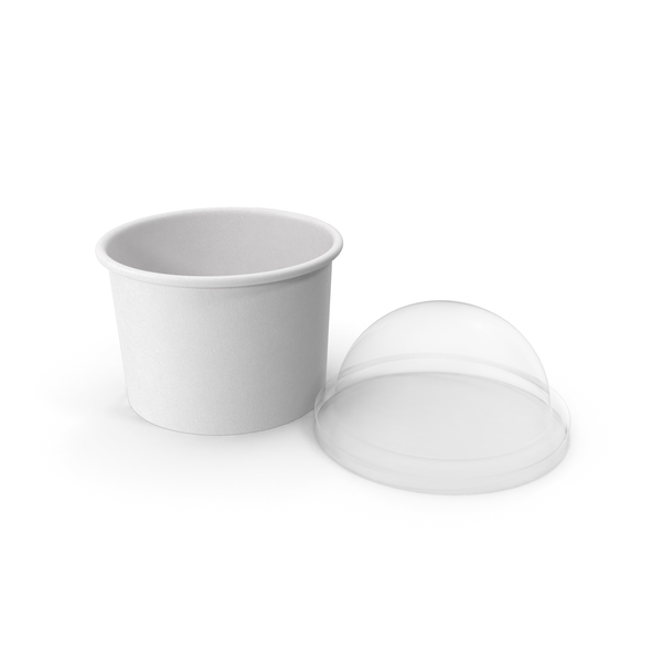 Takeaway Container: Paper Food Cup with Clear Lid for Dessert 8 Oz 200 ml Open PNG & PSD Images