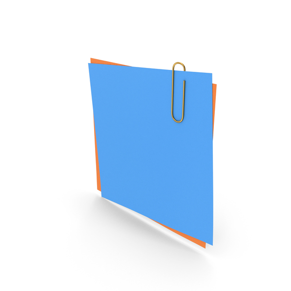 Sticky Note: Papers With Paper Clip Blue Orange PNG & PSD Images