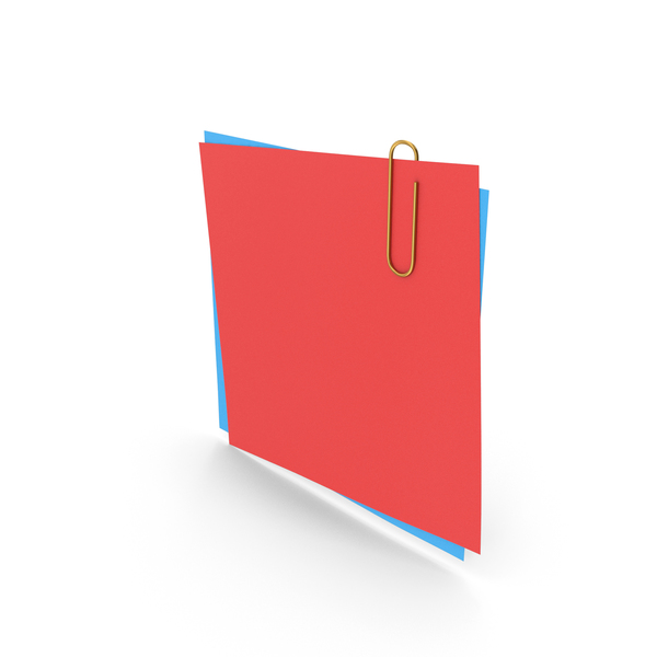 Sticky Note: Papers With Paper Clip Red Blue PNG & PSD Images