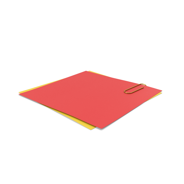 Sticky Note: Papers With Paper Clip Red Yellow PNG & PSD Images