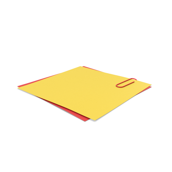 Papers With Paper Clip Yellow Red PNG & PSD Images