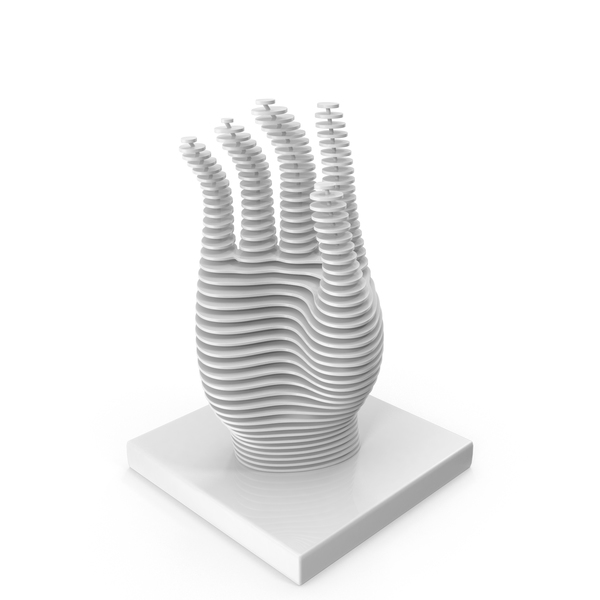 Abstract Sculpture: Parametric Hand Figurine PNG & PSD Images