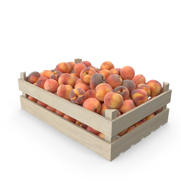 Peaches in wooden crate PNG & PSD Images