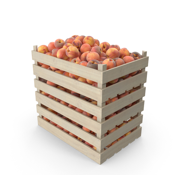 Peach: Peaches in Wooden Crates PNG & PSD Images