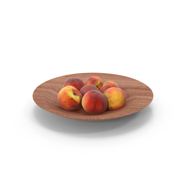 Peach: Peaches Slice Wood Bowl PNG & PSD Images